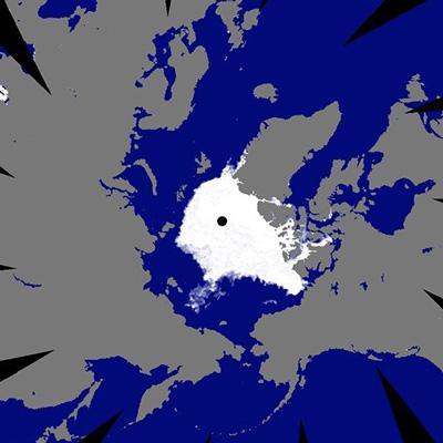 図 観測衛星「しずく」が捉えた2018年9月21日の北極海の氷(白い部分)。(国立極地研究所提供)