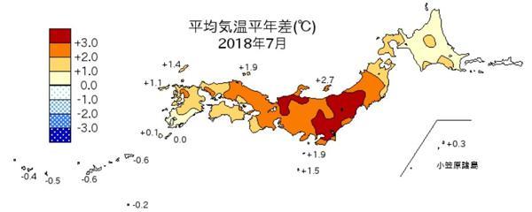 図1 今年7月の平均気温の平年からのずれ。本州を中心に全国的に高かった。(気象庁の公表資料より)