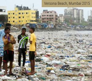画像1 インド・ムンバイの海岸のプラスチックごみ(2015年)(UNEP「Single-use Plastics: A roadmap for Sustainability」から/UNEP提供)