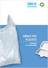 画像3 「Single-use Plastics: A roadmap for Sustainability」と題したUNEP報告書の表紙(UNEP提供)