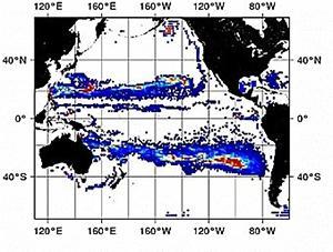 図 マイクロプラスチックが海で運ばれる様子のシミュレーション。計算開始からほぼ3年たった状態。赤い部分がとくに高密度で集まった海域。(磯辺さん提供)