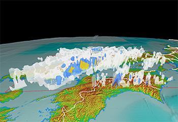 画像1 防災科学技術研究所が作成した3次元データによる6日午後8時の中国、四国地方の雨雲の様子(提供・防災科学技術研究所)