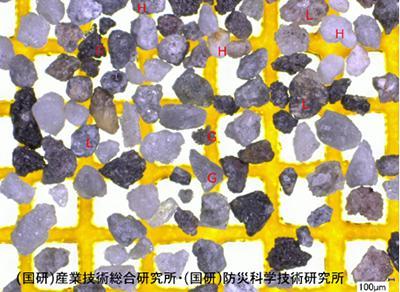 写真2 1月23日に噴火した本白根山の噴出物を構成する粒子(提供・産総研/防災技研)