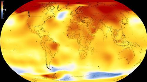 図2 世界の平均気温の「2013年〜17年」平均値が「1951年〜80年」平均値より高い地域が黄色や橙色で示されている(NASA提供)