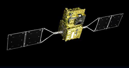 図1 観測衛星「しきさい」の宇宙での想像図(提供・JAXA)