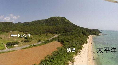 図2 今回の分析対象にしたトレンチ(溝)。「浜堤(ひんてい)」は、海から打ち上げられた砂などが作った盛り上がった地形。