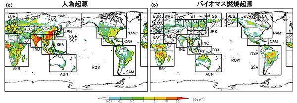 図1.タグ付きトレーサー法で解析するための地域区分。(a)は人為起源、(b)はバイオマス燃焼起源の場合を示している。カラーバーはブラックカーボンの年間排出量を表しており、赤に近づくほど排出量が多いことを示す。ある発生源(地域)の年間排出量は、対象地域全体の年間排出量を足し上げたものを意味する 提供:国立環境研究所