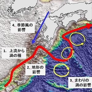 図3 小蛇行の発達に影響するさまざまな要因。赤線が黒潮の流れ。九州の南東沖にある湾曲が小蛇行。(美山さん提供)