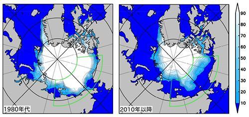 図1 北極海でもっとも氷が少なくなる9月の海氷分布。左は1980年代、右は2010年以降の平均値。右側の数値は、海に占める氷の割合を表す「海氷密接度」。この30年ほどで、北極海の氷は激減している。今回の研究は、緑の線で囲んだ領域を対象にした。National Snow and Ice Data Center(NSIDC)によるデータを使用。(図はいずれも柏瀬さんら研究グループ提供)
