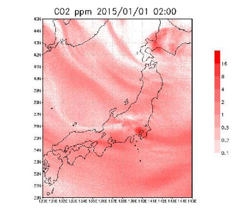 図1 化石燃料の燃焼によって都市と発電所から排出されたCO2のシミュレーション例。地表から高度1kmの層におけるCO2濃度(ppm, 100万分の一を表す単位)で、赤が濃いほど濃度が高い。(国立環境研究所地球環境研究センター物質循環モデリング・解析研究室シャミル・マクシュートフ室長提供)