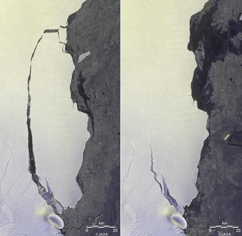 画像 分離した氷山の拡大図。左は2017年7月21日、右は2016年8月19日の観測画像(JAXA提供)