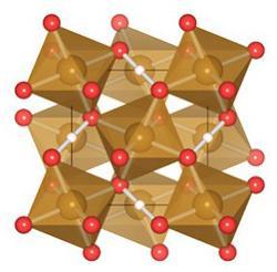図 発見された新しいパイライト型水酸化鉄(FeOOH)の結晶構造(提供・愛媛大学GRC) 大(八面体中心の茶)、中(赤)、小(ピンク)の球はそれぞれ鉄原子、酸素原子、水素原子。