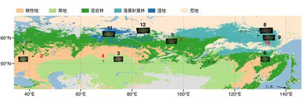 図1 朱さんらが評価の対象にした12の地域(図はいずれも朱さんら研究グループ提供)