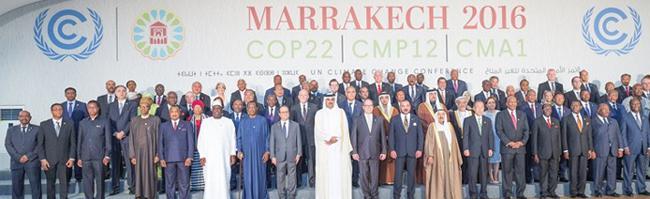 写真2 2016年11月にモロッコ・マラケシュで開かれた「パリ協定」第1回締約国会議(CMA1)会場に集まった締約各国の政府代表ら(国連提供)