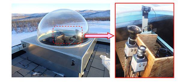 画像2 米アラスカ大学の実験場内にあるオーロラ観測施設に設置した高速撮像カメラ(国立極地研究所など研究グループ提供)