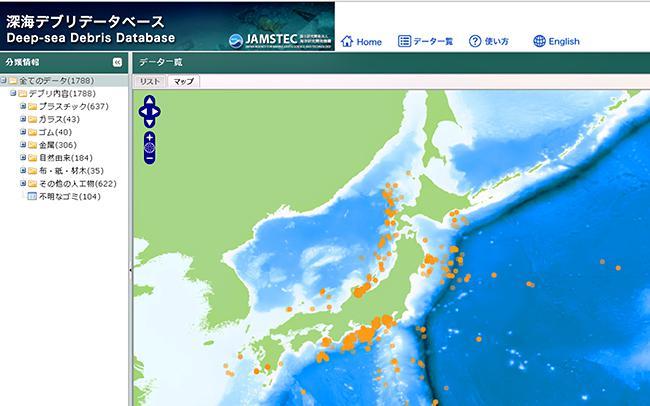 図3.深海デブリデータベースにて、マップ形式でポリ袋ごみを検索し、表示された画面 出典:JAMSTEC