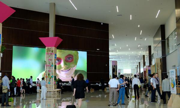写真4 COP13の会場となったカンクンの国際会議場「ムーンパレス」ロビー(2016年12月9日)