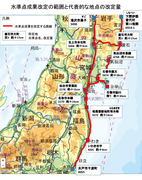 図2 東北地方太平洋沿岸部の主な地点の水準点の変化 (提供・国土地理院)