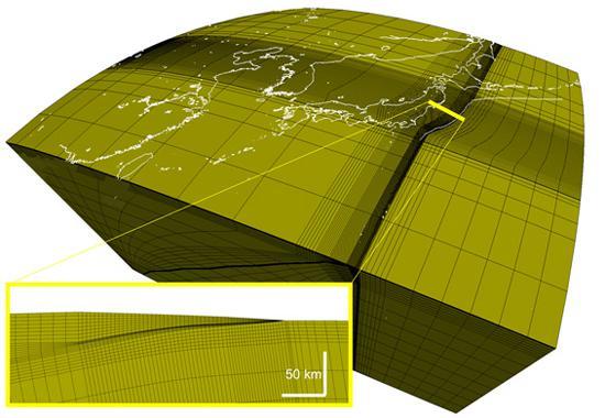 図 解析に用いられた「球核有限要素モデル」と呼ばれるモデル(提供・海洋研究開発機構)