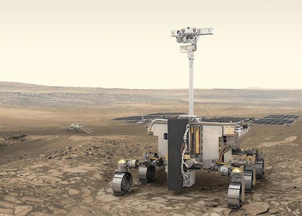 火星探査車「ロザリンド・フランクリン」の想像図(ESA提供)