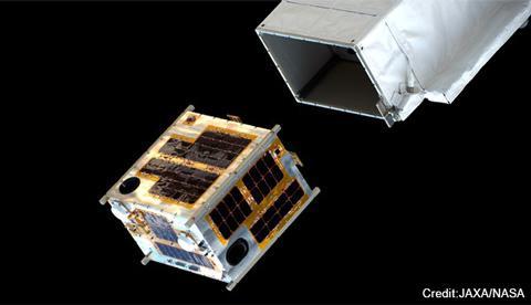 国際宇宙ステーションから放出された超小型衛星「DIWATA-1」(JAXA/NASA提供)