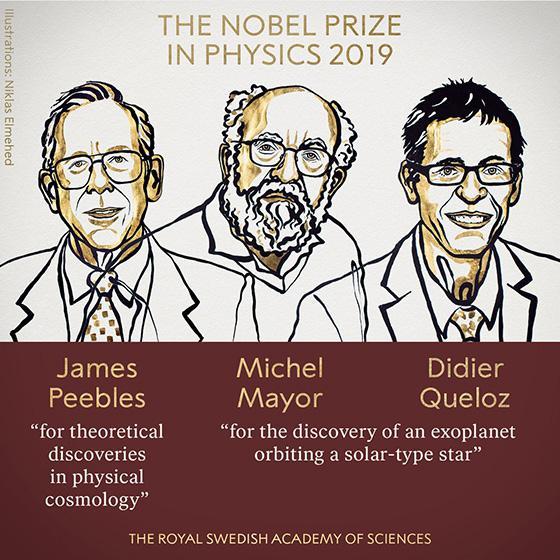 物理学受賞者のイラスト。左からジェームズ・ピーブルズ氏、ミシェル・マイヨール氏、ディディエ・ケロー氏(ノーベル財団提供)