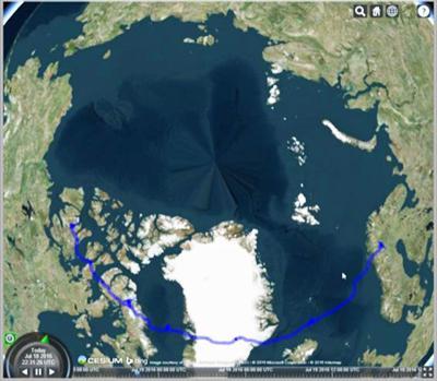 図4 PoGO+で実施した気球フライトの軌跡(青い線)