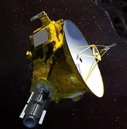 宇宙を飛行する米探査機「ニューホライズンズ」の想像図(提供・NASA/JHUAPL/SwR)