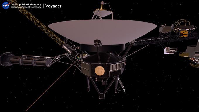 はるか宇宙を旅するボイジャー2号の想像図。機体中央の金色の円形部分は人類のメッセージを収めたレコードのジャケット(NASA/JPL-Caltech提供)