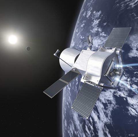 画像 打ち上げ後に合体して水星に向かう「みお」とESAの「MPO」の想像図(提供ESA)