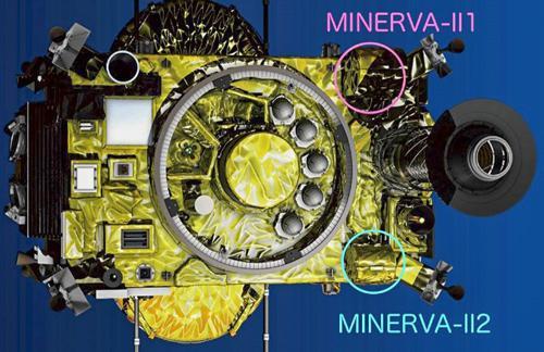 画像2 「はやぶさ2」の底面に搭載されたコンテナ「ミネルバⅡ・1」「ミネルバⅡ・2」。「ミネルバⅡ・1」は2台、「ミネルバⅡ・2」は1台の小型探査ローバを格納している(JAXA提供)