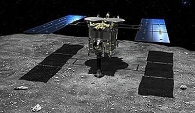 画像6 小惑星「りゅうぐう」地表付近に到達した「はやぶさ2」の想像図(JAXA/池下章裕氏提供)