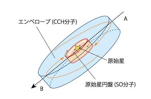 図 原始星と原始星円盤の模式図。原始星の周りに原始星円盤があり、その外側をガスの「エンベロープ」が覆っている。(大小田さんら研究グループ提供)