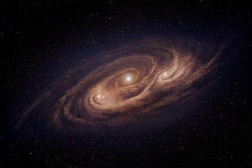 図 アルマ望遠鏡の観測結果にもとづいて描いたモンスター銀河の想像図。中心部とその脇の2か所にガスが集まり、星がさかんに生まれている。(国立天文台提供)