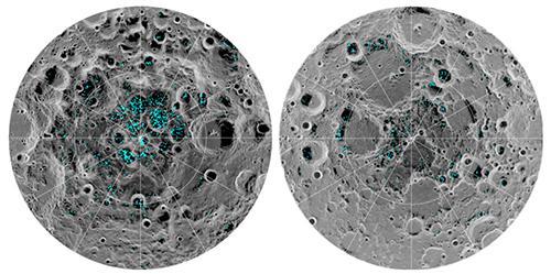 画像 左が月の南極、右が北極。青い部分が氷の位置。月面の灰色部分が濃いほど表面温度が低いことを示している(提供・NASA)