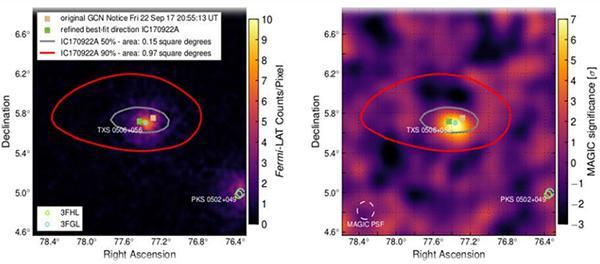 画像 Fermi-LAT(左)、MAGIC(右)の観測により確認された天体「ブレーザー」(いずれもほぼ中央で光っている)。今回検出された高エネルギーのニュートリノの発生源であることが分かった(提供・千葉大学が参加する国際研究チーム「アイスキューブ」)