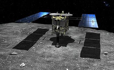 画像2 JAXA/池下章裕氏提供 小惑星「りゅうぐう」地表付近に到達した「はやぶさ2」想像図