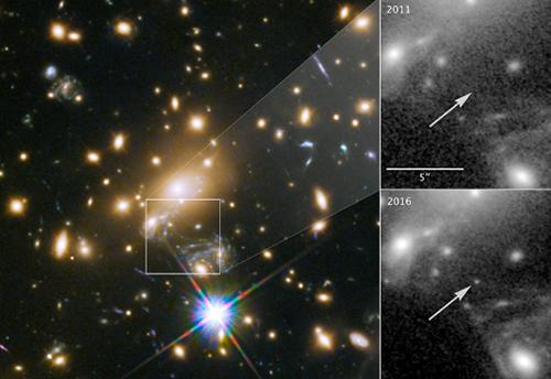 画像 ハッブル宇宙望遠鏡が捉えたイカロスの画像。左は銀河団(MACS J1149+2223)におけるイカロスの出現位置。右はイカロス付近のハッブル宇宙望遠鏡画像の拡大図。2011年(右上)には観測されていなかったイカロスが2016年(右下)の観測で出現していることがわかる。(提供: NASA/ESA/P. Kelly)
