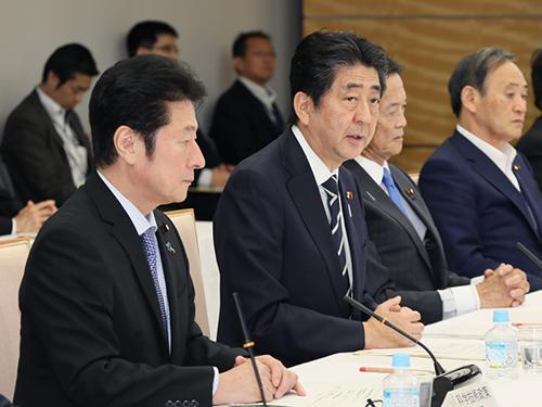 写真 6月14日に総理官邸で開かれた「第39回総合科学技術・イノベーション会議」 で発言する安倍晋三首相(提供・首相官邸)