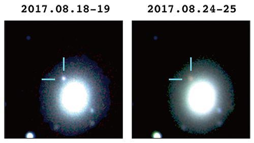 図1 日本の観測チームが観測に成功した重力波の発生源。1億3000万光年のかなたで中性子星が合体した。これを「すばる望遠鏡」などで観測し、そのデータを合成した。左図から6日たった右図では、少し赤みが増している。(国立天文台・名古屋大学提供)