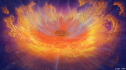 図2 中性子星が激しく合体し、「重い元素」を生み出す反応が起きている現象の想像図。(国立天文台提供)