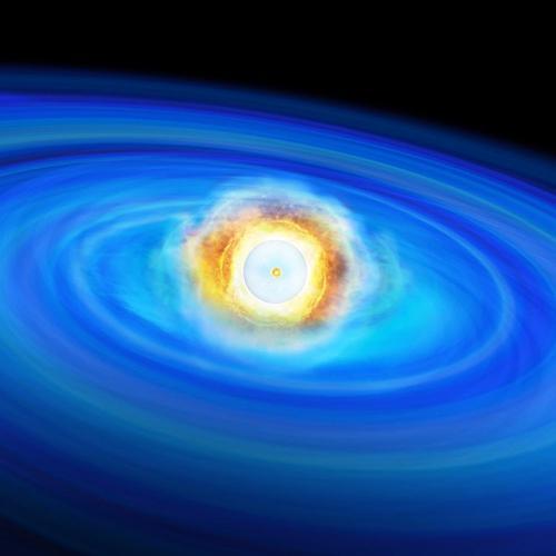 図 超新星爆発を起こしている白色矮星の想像図。表面のヘリウム層がまず爆発し、それが中心部の核融合反応を誘発した。(東京大学大学院理学系研究科付属天文学教育研究センター提供)