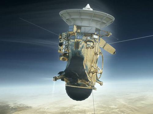 画像1 NASAが公開した任務終了間近のカッシーニの想像図(提供・NASA/JPL-Caltech)