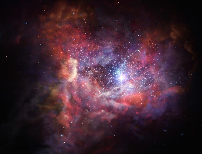 画像3 今回観測された132億光年かなたにある銀河A2744_YD4の想像図(提供・ESO/M. Kornmesser)