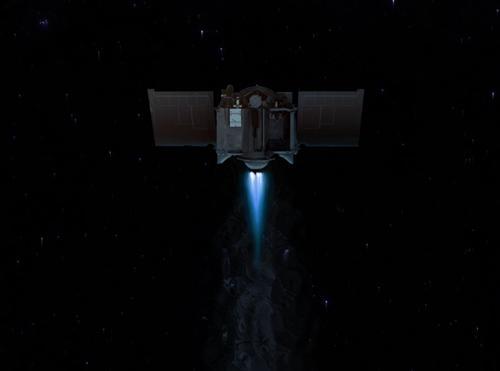 図1 宇宙空間を小惑星「ベンヌ」目指して飛行中の探査機「オシリス・レックス」の想像図 (NASA作成・提供)