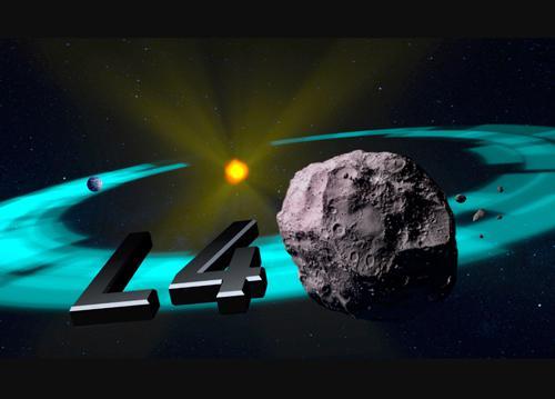 図2 第4ラグランジュ点(L4)に存在する小惑星の概念図(NASA作成・提供)