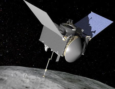 図3 小惑星「ベンヌ」で試料採取中の探査機「オシリス・レックス」の想像図(NASA作成・提供)