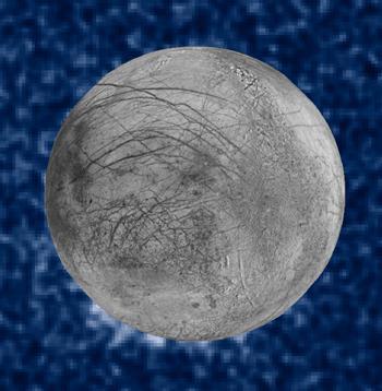 図1以前に米探査機で撮影されたエウロパの写真とハッブル宇宙望遠鏡が観察した水柱(エウロパ左下の白く見える部分)の合成画像(NASA作成・提供)
