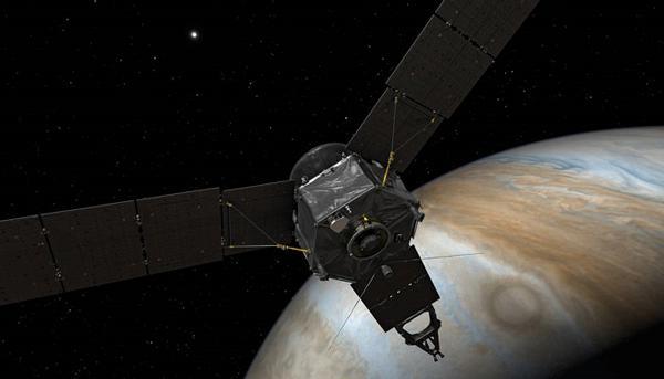 画像2 木星に接近した木星探査機ジュノーの想像図(提供 NASA)