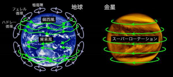 図1. 地球と金星の大気の流れの違い